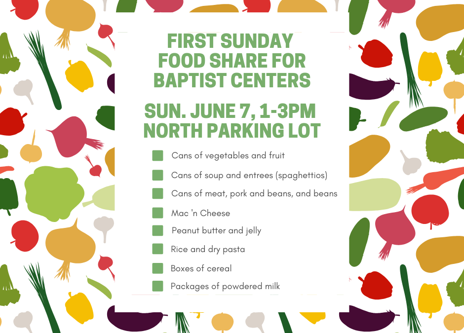 First Sunday Food Share – June 7, 2020