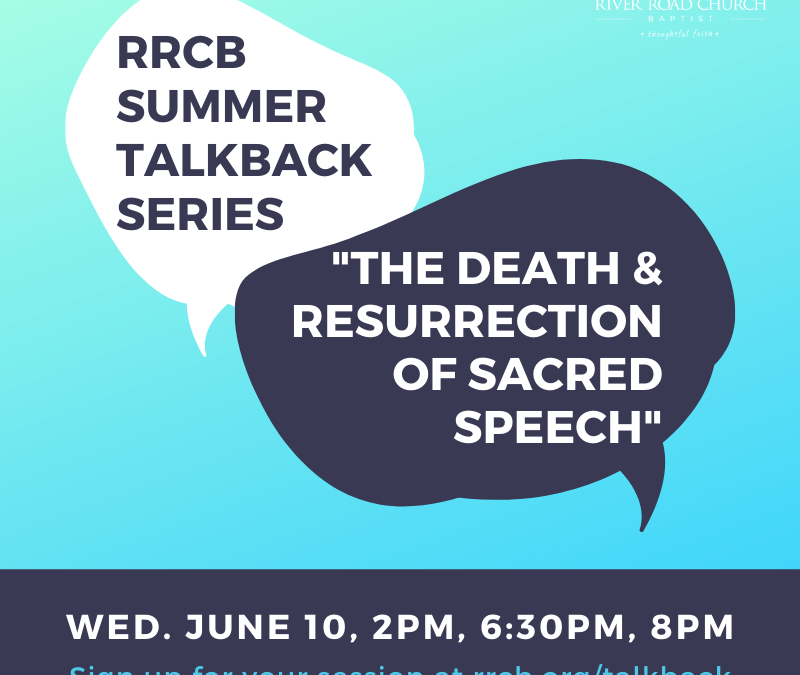 """Talkback Session: """"The Death and Resurrection of Sacred Speech"""""""