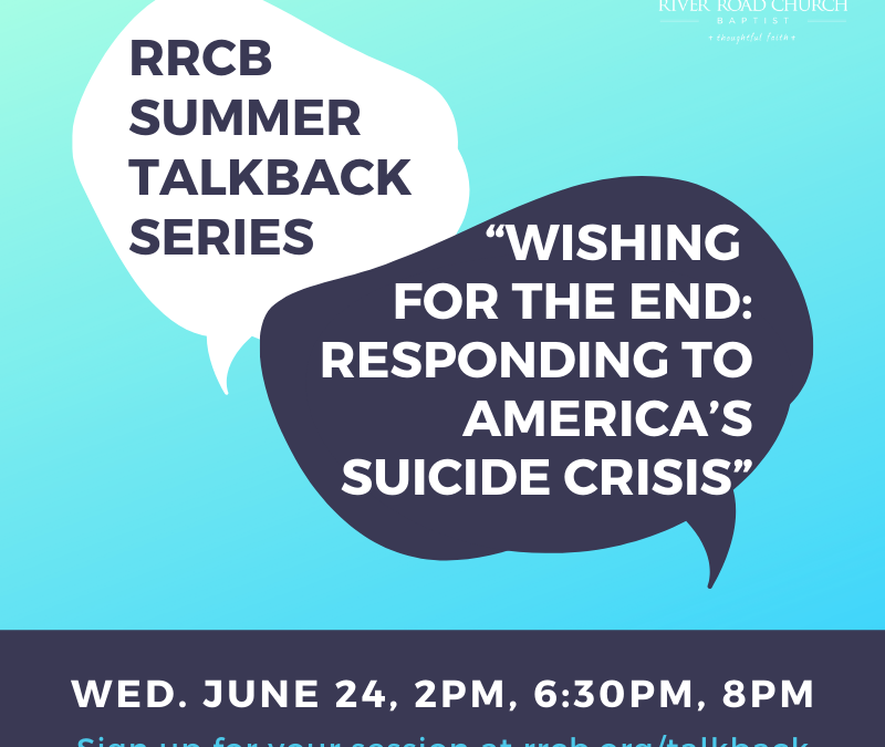"""Talkback Session: """"Wishing for the End: Responding to America's Suicide Crisis"""""""