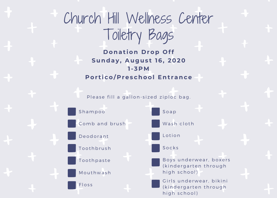 Church Hill Wellness Center Toiletry Bags