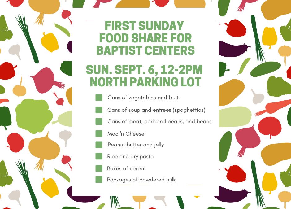 First Sunday Food Share – September 6, 2020