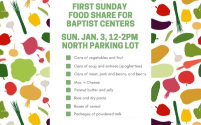 First Sunday Food Share – January 3, 2021