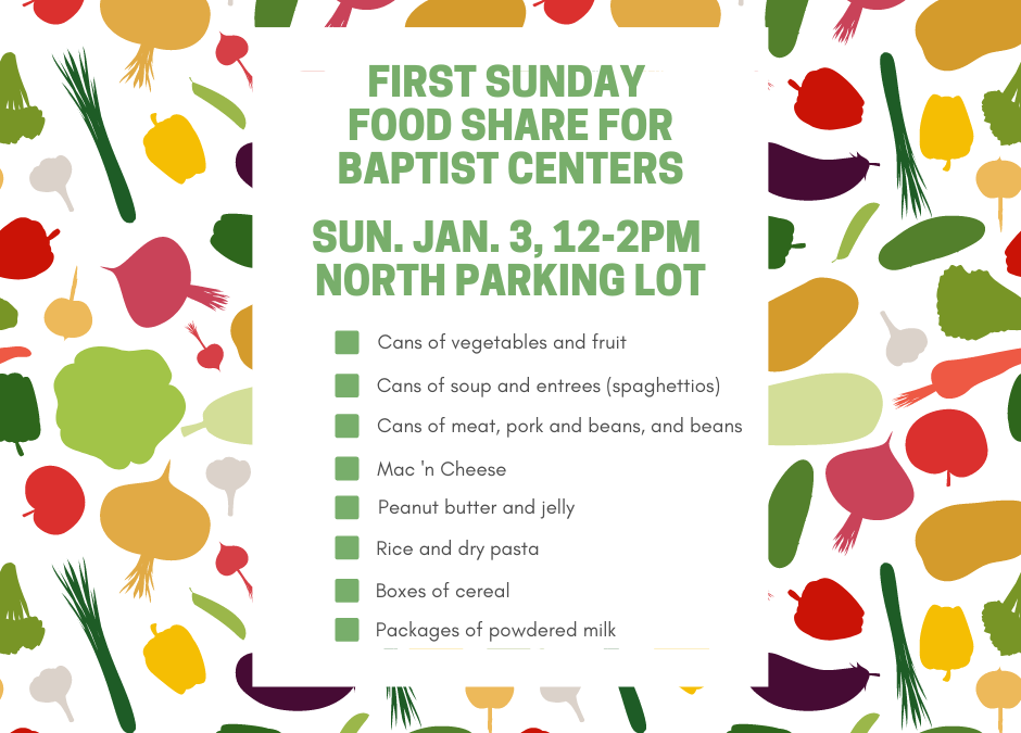 First Sunday Food Share – January 3, 2021