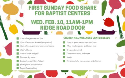 First Sunday Food Share – February 10, 2021
