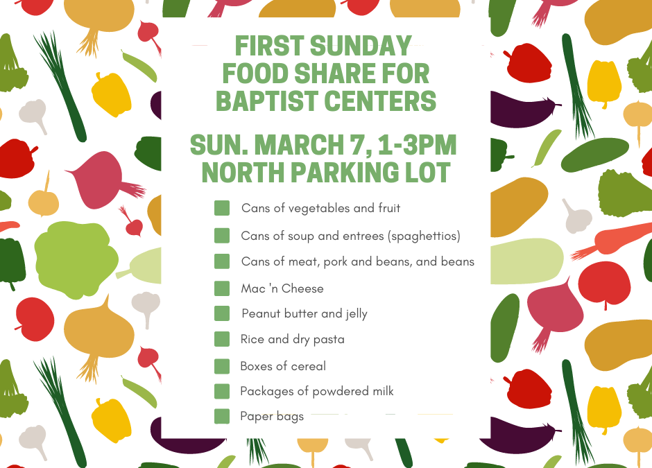 First Sunday Food Share – March 7, 2021