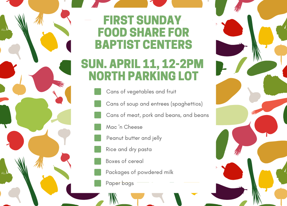 First Sunday Food Share – April 11, 2021