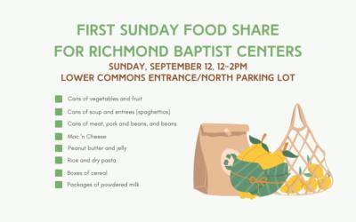 First Sunday Food Share – September 12, 2021