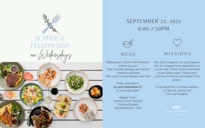 Wednesday Night Supper & Fellowship —September 22, 2021