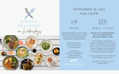 Wednesday Night Supper & Fellowship —September 29, 2021